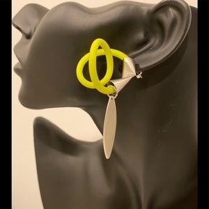 Earrings, brass silver plated.